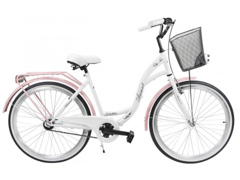 "Jalgratas AZIMUT City Lux 26"" 2019 with basket white-pink"