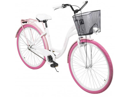 "Jalgratas AZIMUT City Lux 28"" 2021 with basket white-pink"