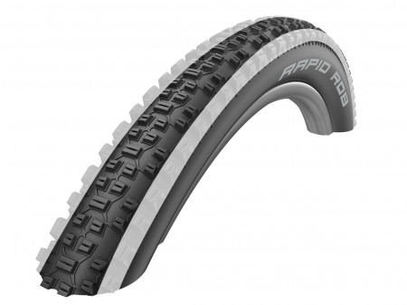 "Väliskumm 27.5"" Schwalbe Rapid Rob HS 425, Active Wired 57-584 White Stripes"