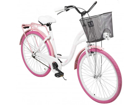 "Jalgratas AZIMUT City Lux 26"" 2021 with basket white-pink"